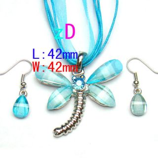 Fashion Gemstone Pendant Necklace Earrings Set Hot Jewelry