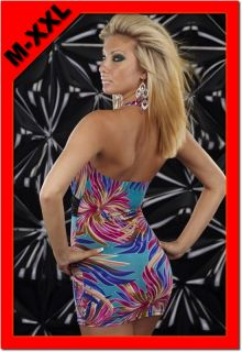 Hot Blue Halter Neck Daisy Print Colorful Deep V Bodycon Clubwear M