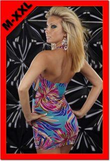 Hot Blue Halter Neck Daisy Print Colorful Deep V Bodycon Clubwear M