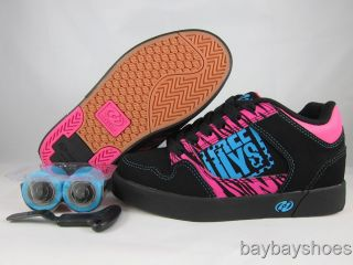 Heelys Caution Black Hot Pink Blue Gum Roller Skate Girls Youth All