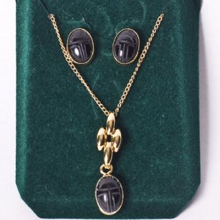 14kt Gold Hge Black Onyx Scarab Necklace Earrings Set