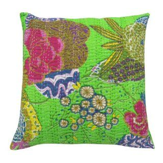 1 Piece Handmade Cotton Kantha Cushion Cover Green Floral