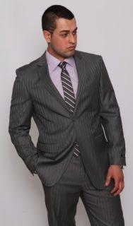 Modern Fit Men Suit 2 Button Grey Stripe Flat Front Pants Italian Azar
