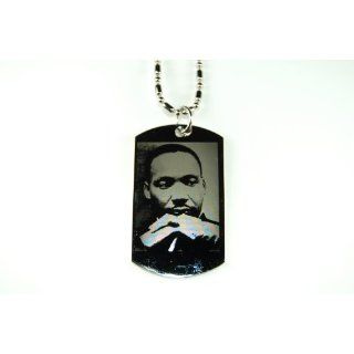 Martin Luther King Jr. Silver Tone Dog Tag Pendant