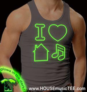 Asphalt Gray I Love House Music Tank Top Glow in The Dark Rave Dance