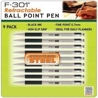 F 301 Zebra Retractable Ball Point Pen, Black Ink, Fine