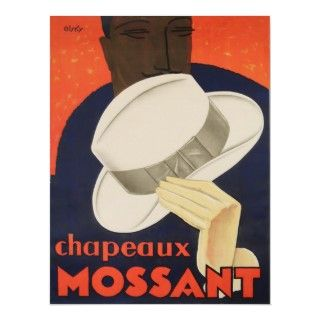 Vintage Poster, Art Deco Hat French Advertisement