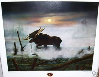 Lloyd Hovland North American Moose Hand Signed Print