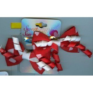 Valentines Gifts  PPVAL144EE Red ribbon bow hair clips