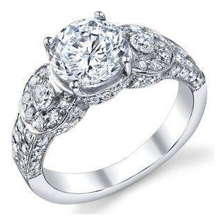 14k White Gold Marian Three Stone Halo Circlet Ring Halo Vintage Three