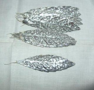 Vtg Millinery Flower Silver Aluminum Foil Paper Leaf F