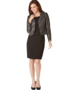 Le Suit Grey Black Ruffle Collar Jacket Dress Suit Petite Size 8P