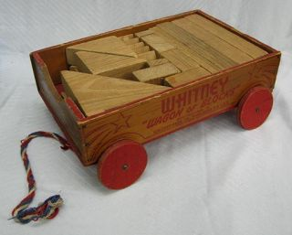 Antique Wooden Toys Whitney Wagon of Building Blocks