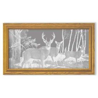 Decorative Framed Mirror Wall Decor With Deer Hunting
