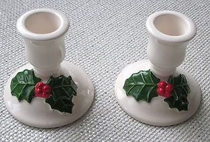Lillian Vernon Christmas Candle Holders Green Holly Leaves Red Berries