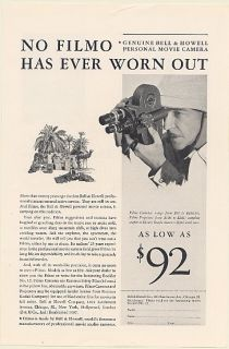 1931 Bell Howell Filmo Movie Camera None Has Ever Worn Out Print Ad