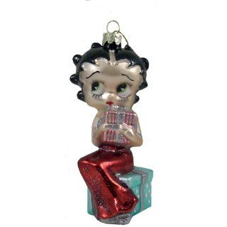 Betty Boop 5 Glass Ornament With Present