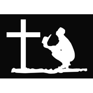 Cowboy Praying at the Cross Religious Vinyl Decal Sticker