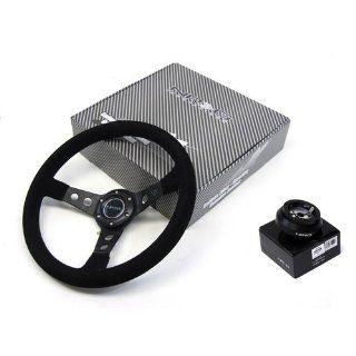 90 93 Toyota MR2 NRG 350MM Suede Steering Wheel + Hub Adapter Black