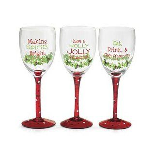 Set of 3 Hand Blown Christmas Wine Glasses/ Goblets