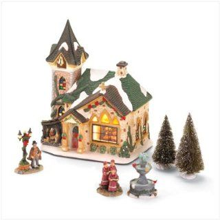 LIGHTED PORCELAIN CHURCH VILLAGE CHRISTMAS COLLECTIBLE