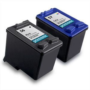 2pk Printronic for HP 56 57 Ink Cartridge C6656AN C6657AN Combo Pack