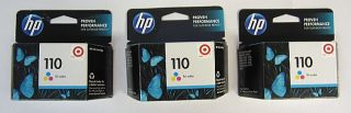 HP Combo Pack 3 110 Tri Color Office Jet Ink Cartridges