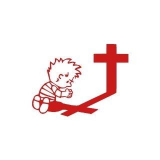 Boy Praying At Cross RED vinyl window decal sticker