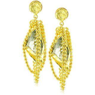 Zariin Dawn to Dusk Green Amethyst Gold Earrings