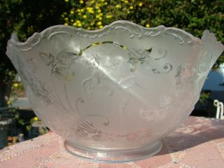 Stunning Antique Etched Gas Light Shade with Cherubs