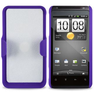 SPRINT HTC EVO DESIGN 4G PURPLE HARD CASE + BELT CLIP HOLSTER COMBO