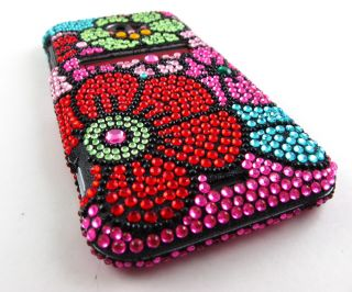 Funky Flowers Rhinestone Bling Hard Case Cover HTC EVO 4G LTE Phone