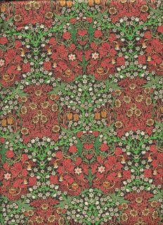 RARE Rose Hubble Art Nouveau William Morris Fabric Blackthorn Scarlet