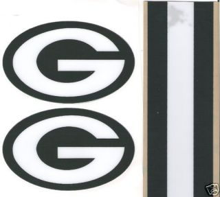 Green Bay Packers Full Size Football Helmet Decals w Stripe