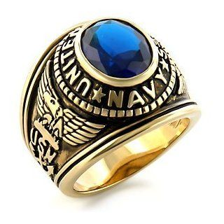Navy Ring   Pure White Rhodium Plated Ring with Stone   USN Navy Seals