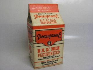 Vintage Waxed Pensupreme Dairies Dairy Lancaster PA Milk Carton Bottle