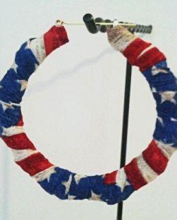 American Flag Bamboo Hoop Earrings Large