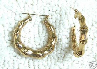 Fine 14k Gold Bamboo Hoop Large Earrings AMCLOSEOUT47