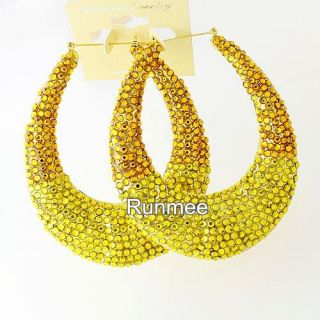 Hot Huge Gold Two Tune Oval Style Basketbal Wives Bamboo Hoop Earring
