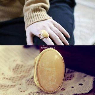 Retro Europe style Big Stone light Yellow Golden Ring Rhinestone Rings