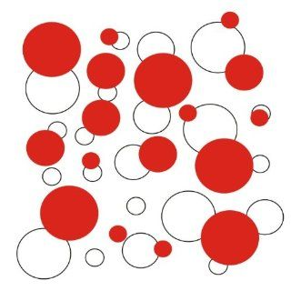 set of 106 White and Red polka dots Vinyl wall lettering