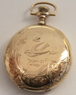 Hugh Connolly C 1900 Ladies Pocket Watch Engraved Gold Filled Hunter
