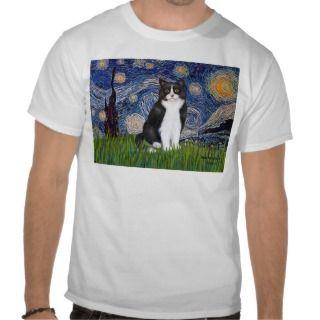 Starry Night   Black and White Cat Tee Shirt