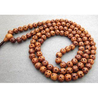 108 Wood Lu Lu Tong Beads Buddhist Prayer Mala Necklace