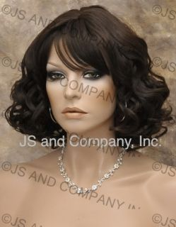 Human Hair Blend Wig Wavy Curly Dark Brown Versitile Heat N Flat Iron