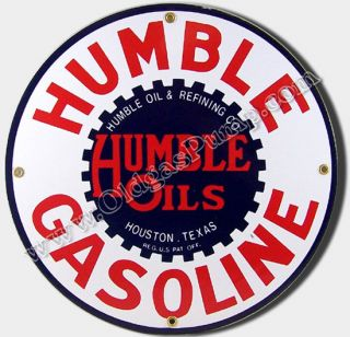 Humble Oil Gasoline 12 Porcelain Gas Pump Sign