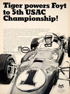 1968 Ad Humble Oil Refining Racing Motor Tiger Fuel AJ Foyt Esso Extra