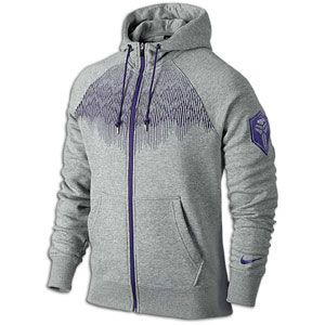 Nike Kobe Striker F/Z Fleece Hoodie   Mens   Dark Grey Heather/Court