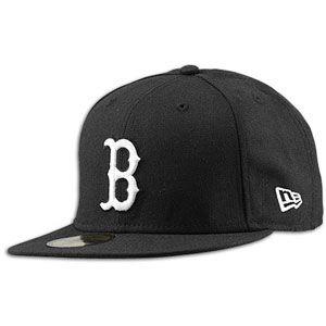 New Era MLB 59Fifty Black & White Basic Cap   Mens   Red Sox   Black