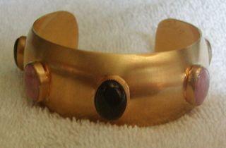 Gorgeous Vintage Pink Black Gemstone Cuff Bracelet
